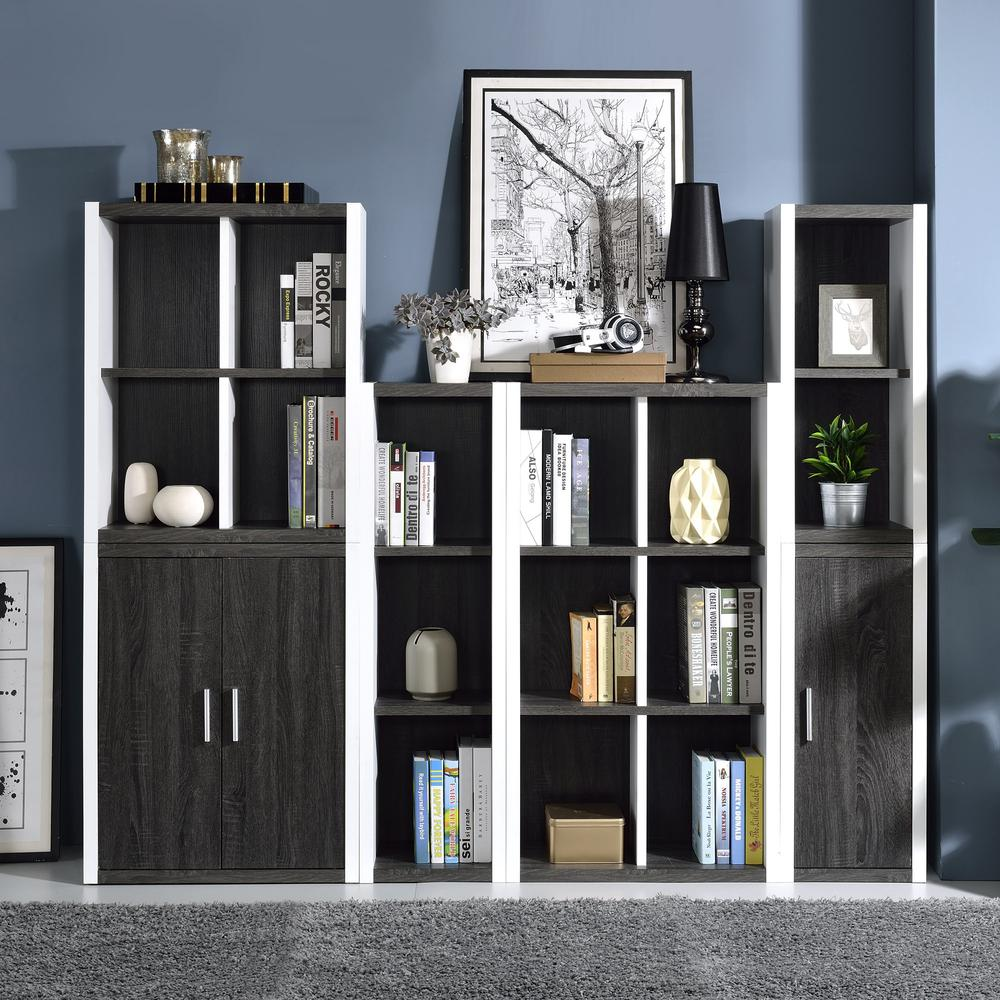 Versatile Four Shelf White and Gray Cubby Bookshelf - 384457. Picture 4