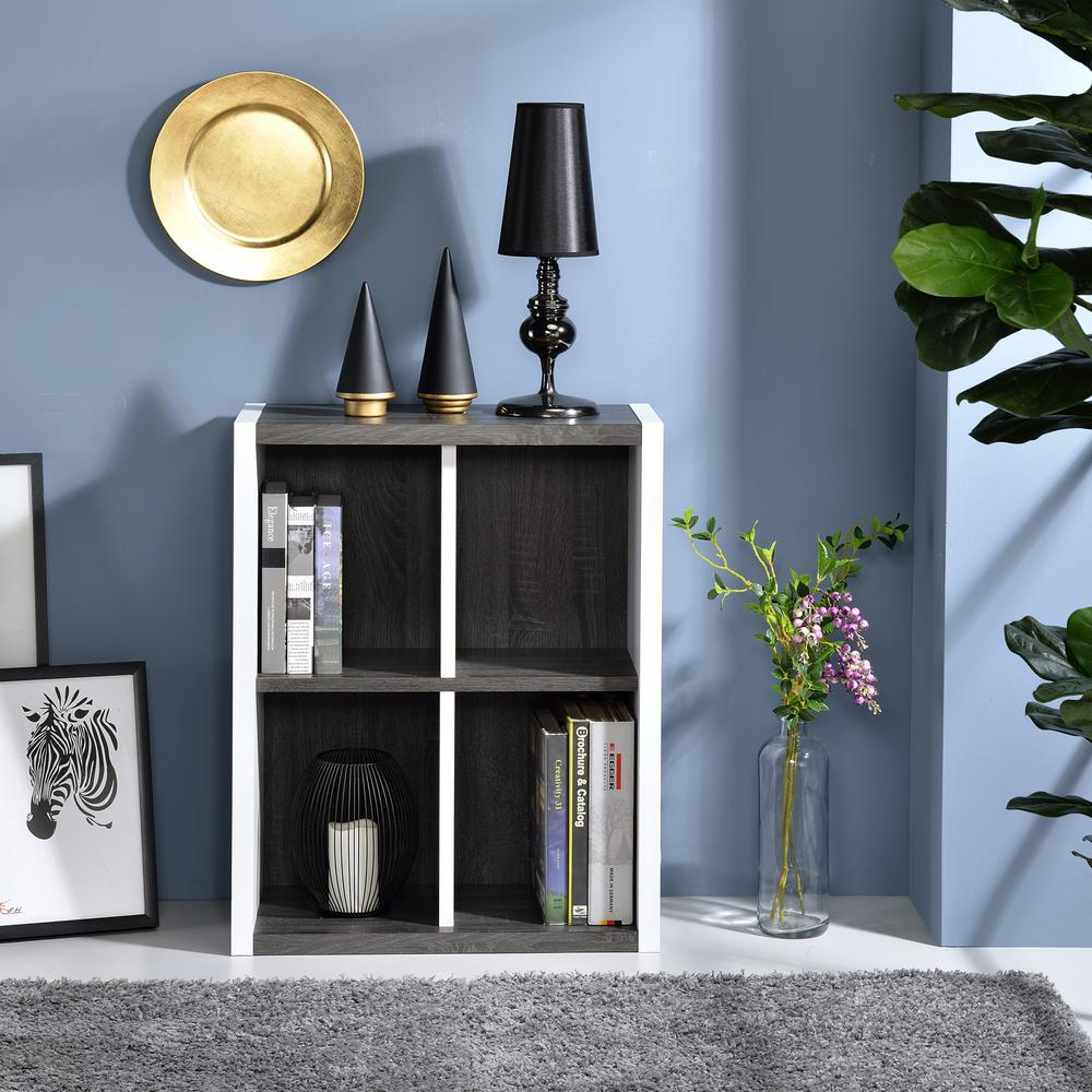 Versatile Four Shelf White and Gray Cubby Bookshelf - 384457. Picture 6