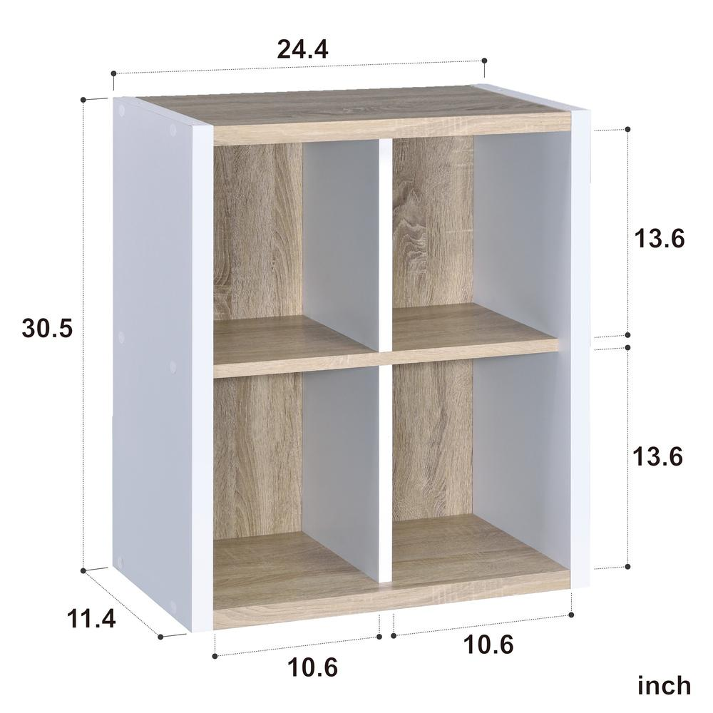 Versatile Four Shelf White and Natural Cubby Bookshelf - 384458. Picture 3