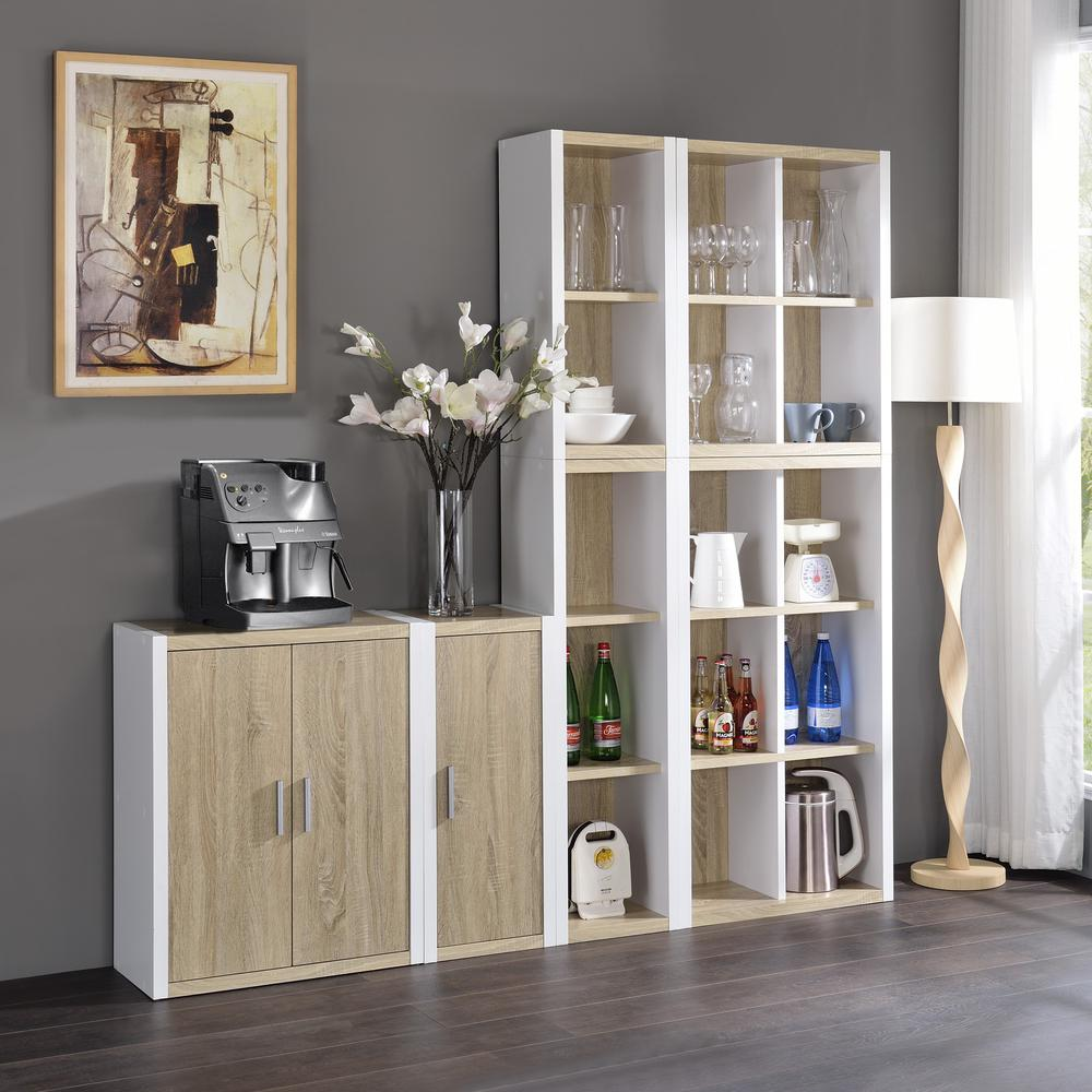Versatile Four Shelf White and Natural Cubby Bookshelf - 384458. Picture 4