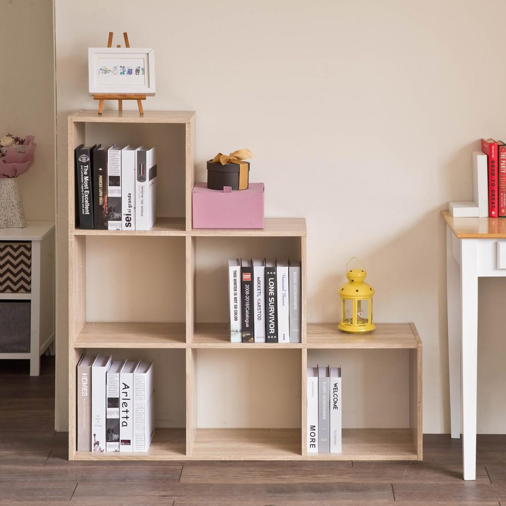 Graduated Step Natural 6 Cube Shelving Unit - 384467. Picture 2