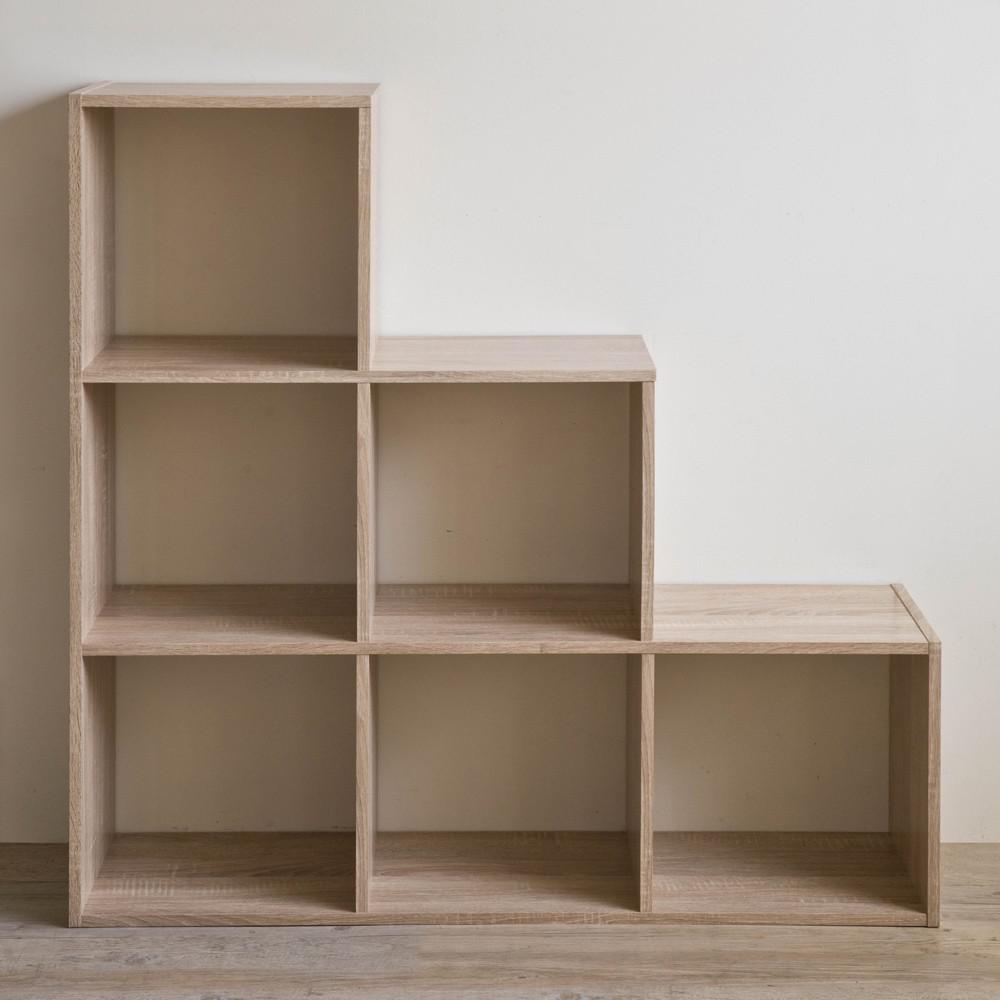 Graduated Step Natural 6 Cube Shelving Unit - 384467. Picture 4