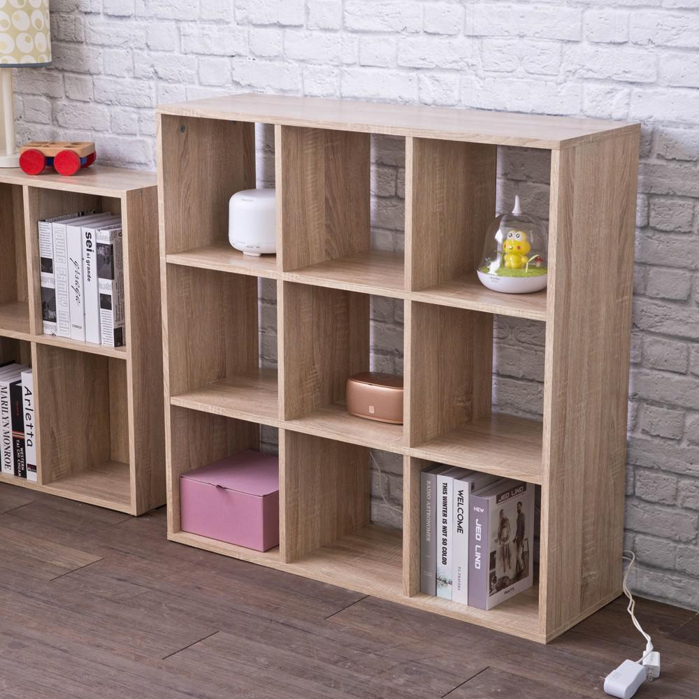 Natural Nine Grid Open Cube Storage Shelf - 384471. Picture 2