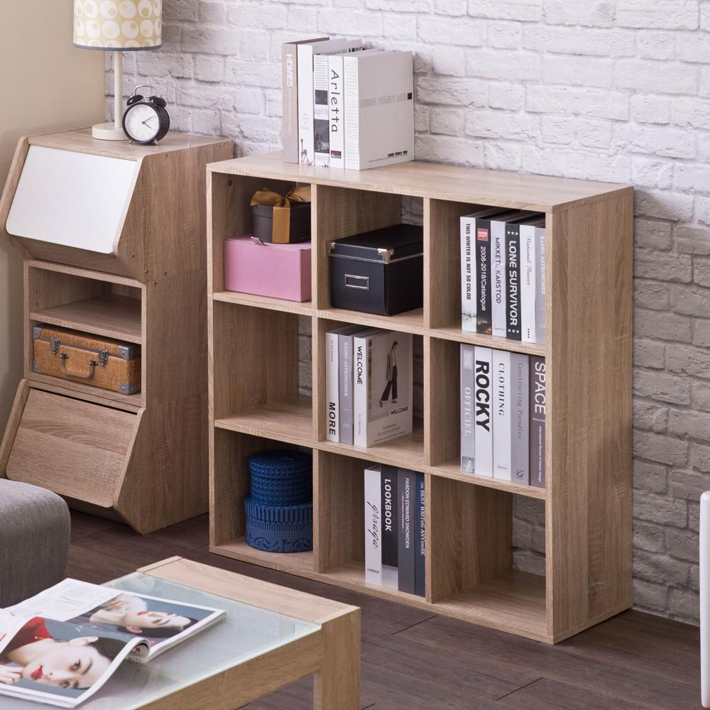 Natural Nine Grid Open Cube Storage Shelf - 384471. Picture 4