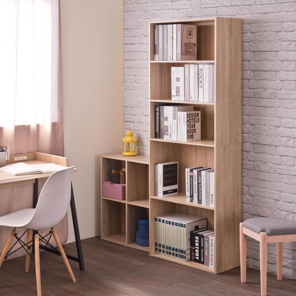 Classic Natural Grain 5 Shelve Storage Bookcase - 384473. Picture 2