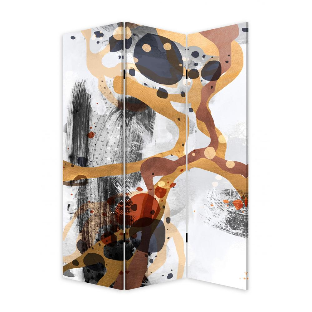 3 Panel Reversible Abstract Art Room Divider Screen - 384579. Picture 1