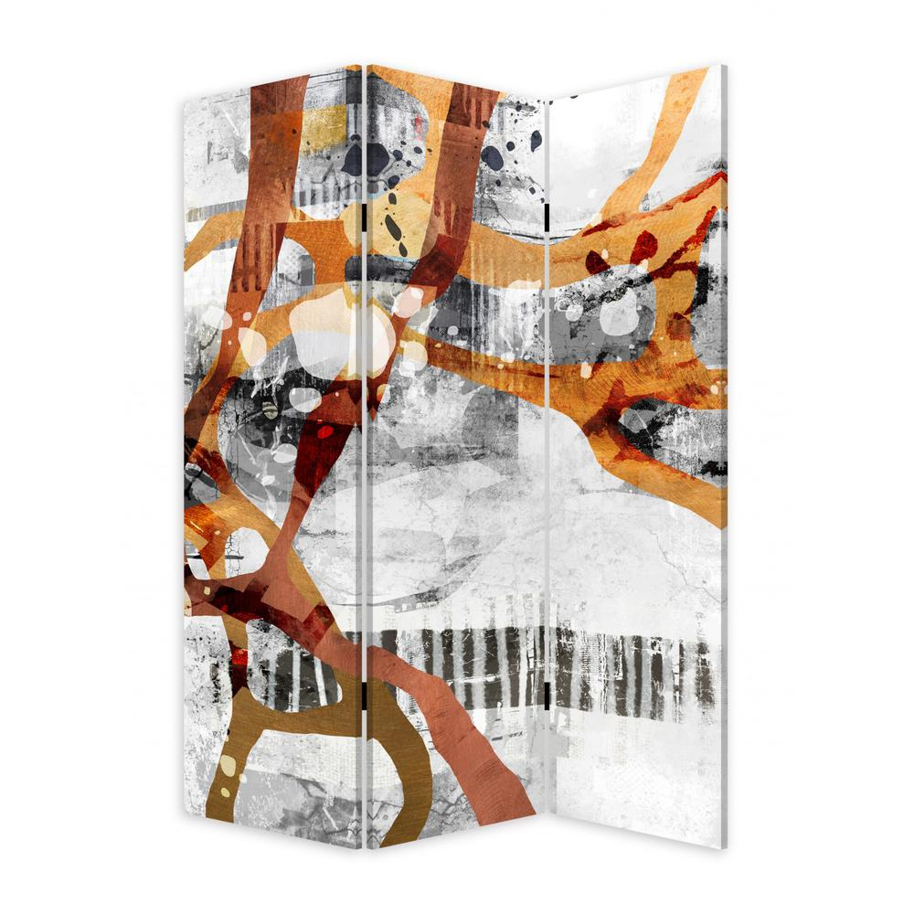 3 Panel Reversible Abstract Art Room Divider Screen - 384579. Picture 2