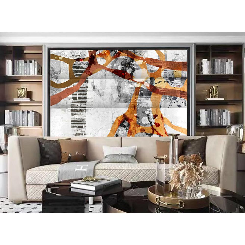 3 Panel Reversible Abstract Art Room Divider Screen - 384579. Picture 4