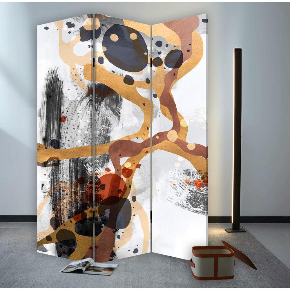 3 Panel Reversible Abstract Art Room Divider Screen - 384579. Picture 5