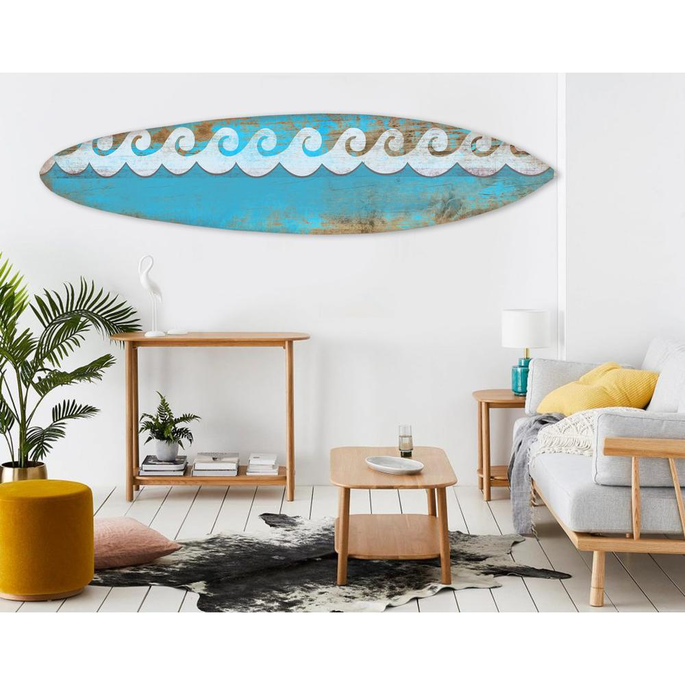 Distressed and Rustic Aqua Waves Surfboard Wood Panel Wall Art - 384583. Picture 3