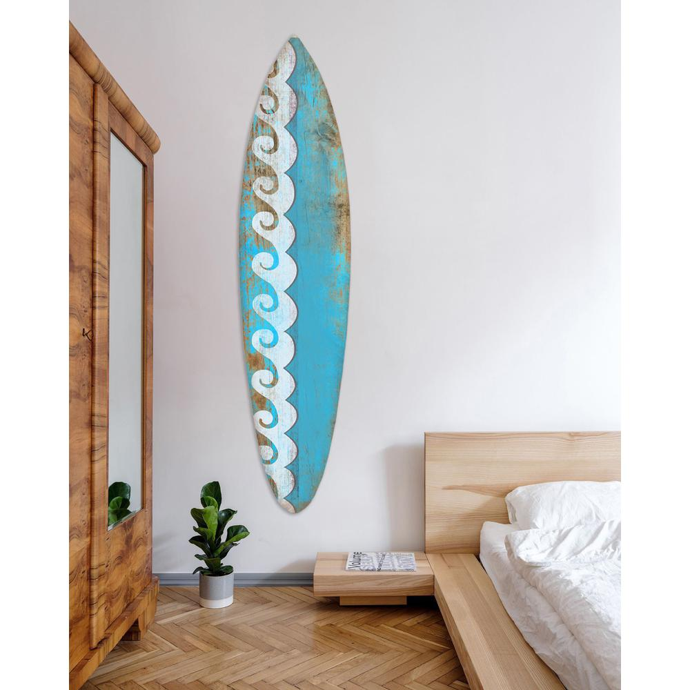 Distressed and Rustic Aqua Waves Surfboard Wood Panel Wall Art - 384583. Picture 4