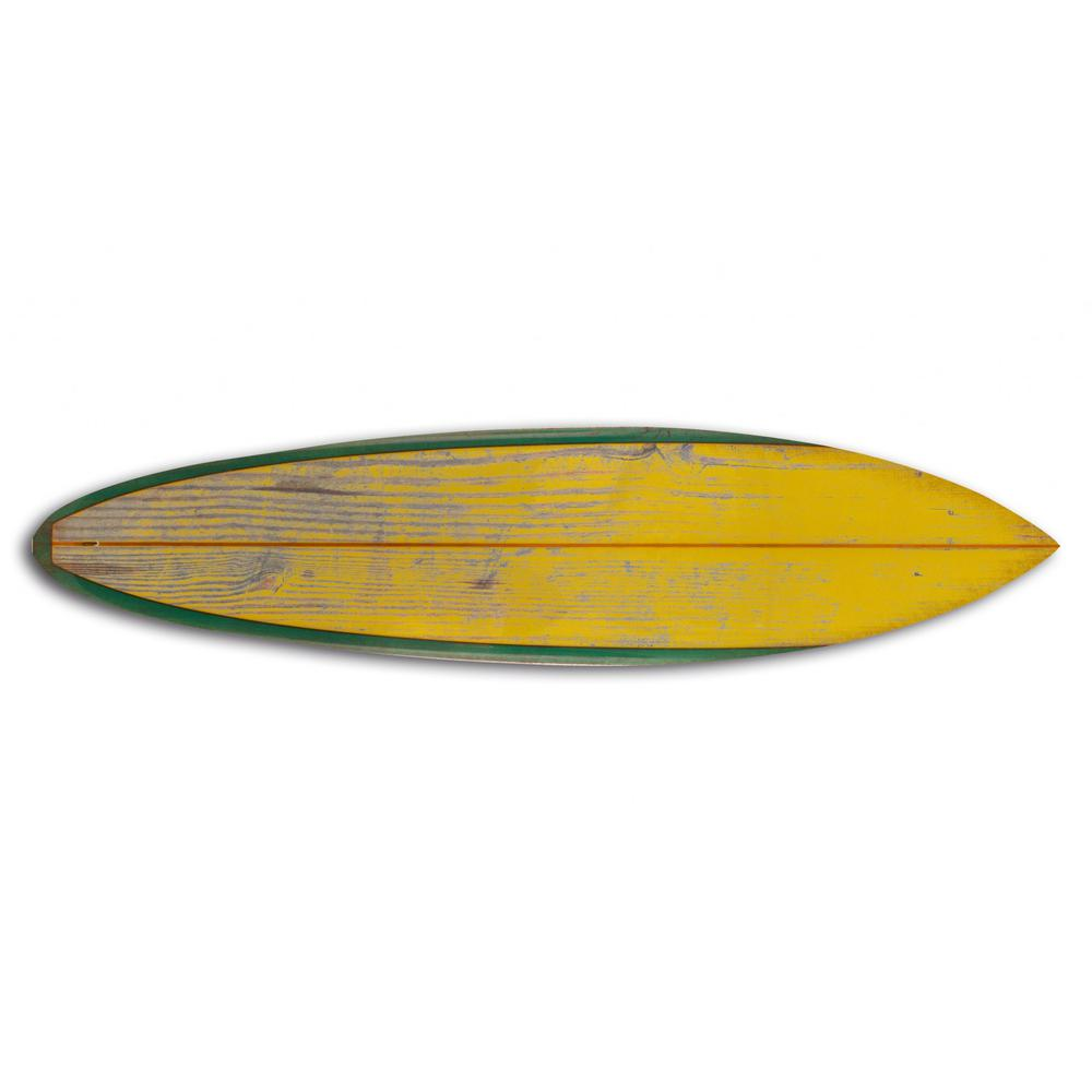 Distressed and Rustic Yellow Surfboard Wood Panel Wall Art - 384585. Picture 1