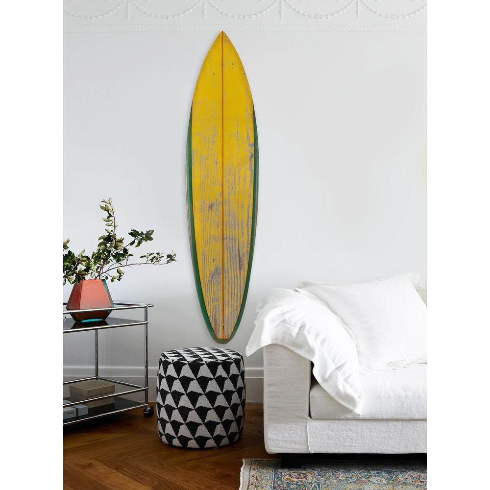 Distressed and Rustic Yellow Surfboard Wood Panel Wall Art - 384585. Picture 3