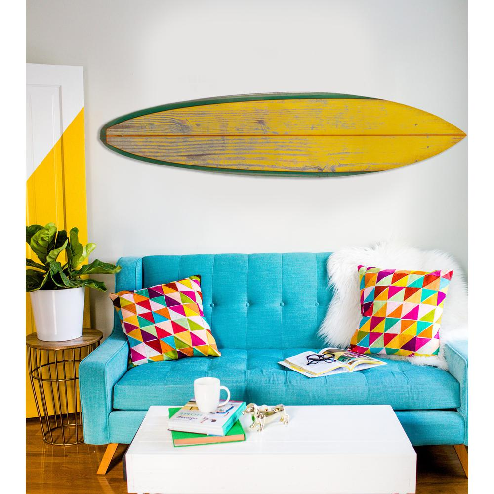 Distressed and Rustic Yellow Surfboard Wood Panel Wall Art - 384585. Picture 4