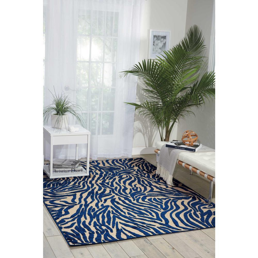 5' x 8' Navy Zebra Pattern Indoor Outdoor Area Rug - 384587. Picture 4