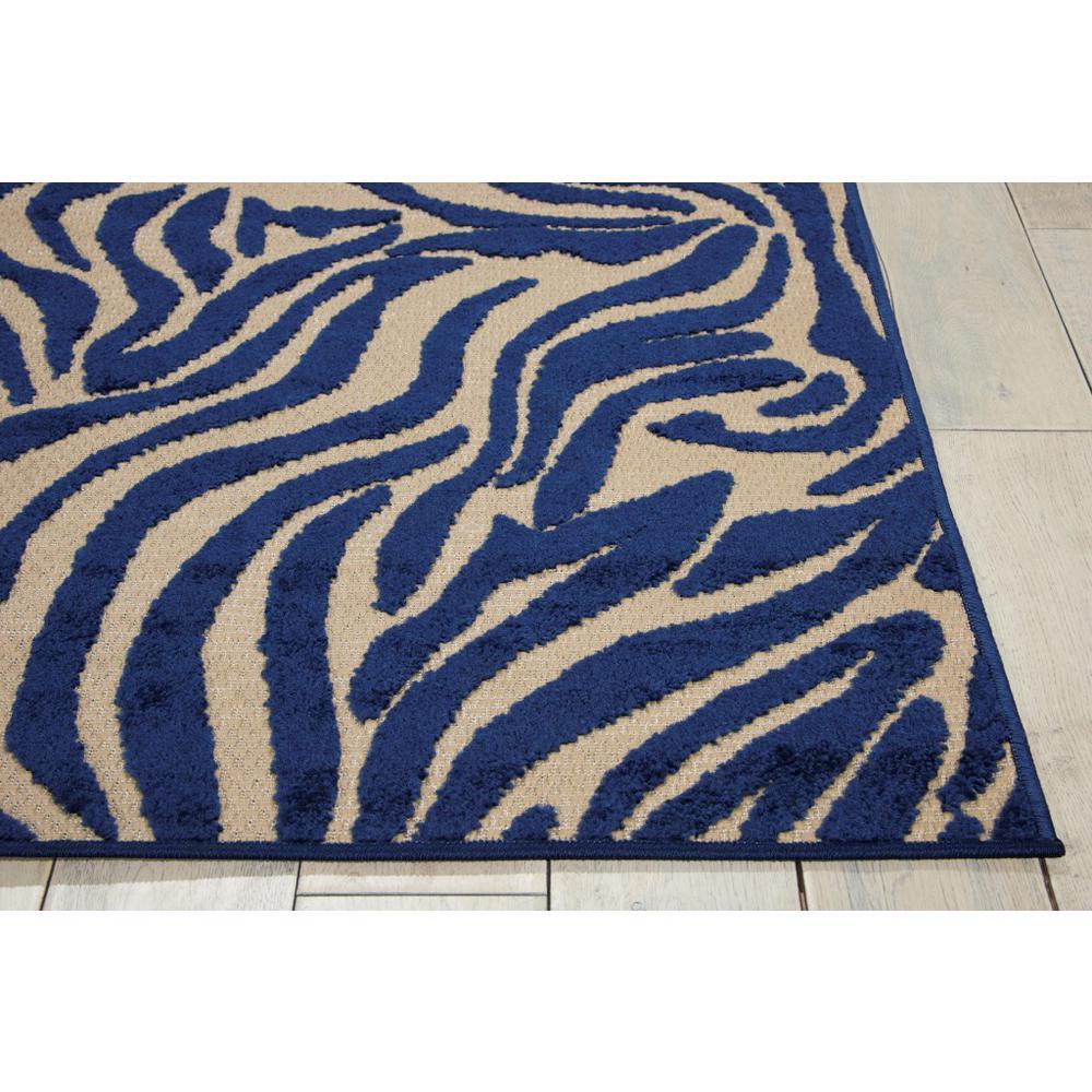 5' x 8' Navy Zebra Pattern Indoor Outdoor Area Rug - 384587. Picture 5