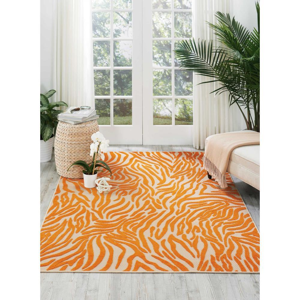 5' x 8' Orange Zebra Pattern Indoor Outdoor Area Rug - 384591. Picture 4