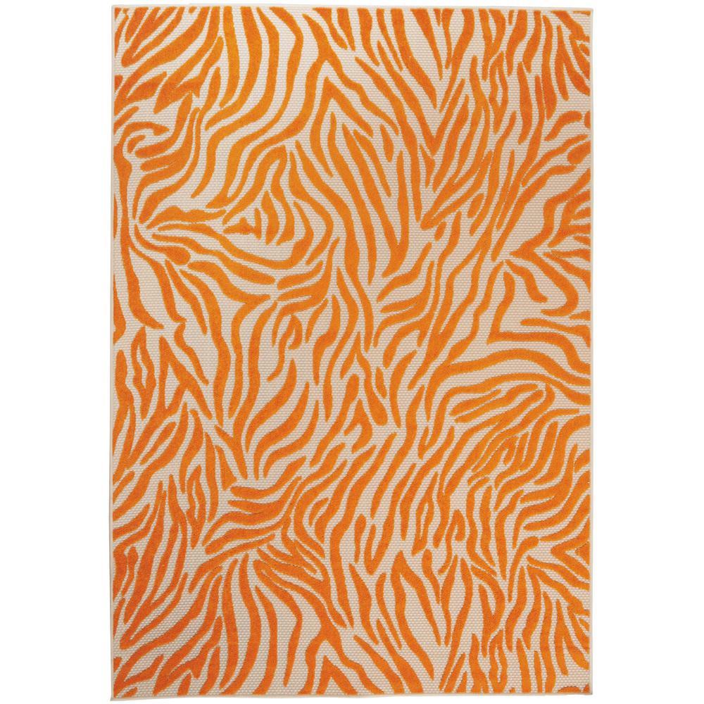 8' x 11' Orange Zebra Pattern Indoor Outdoor Area Rug - 384592. Picture 1