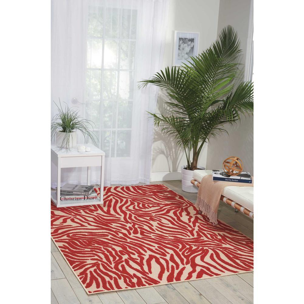 4' x 6' Red Zebra Pattern Indoor Outdoor Area Rug - 384594. Picture 4