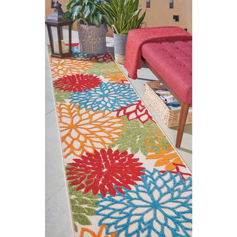 2' x 12' Green Floral Indoor Outdoor Runner Rug - 384605. Picture 4