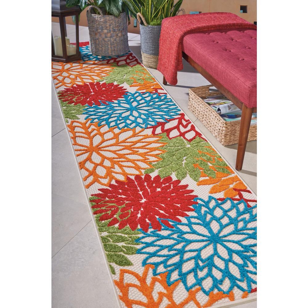 2' x 12' Green Floral Indoor Outdoor Runner Rug - 384605. Picture 5