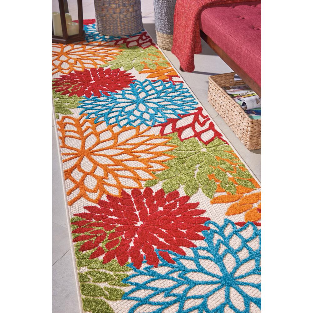 2' x 12' Green Floral Indoor Outdoor Runner Rug - 384605. Picture 7