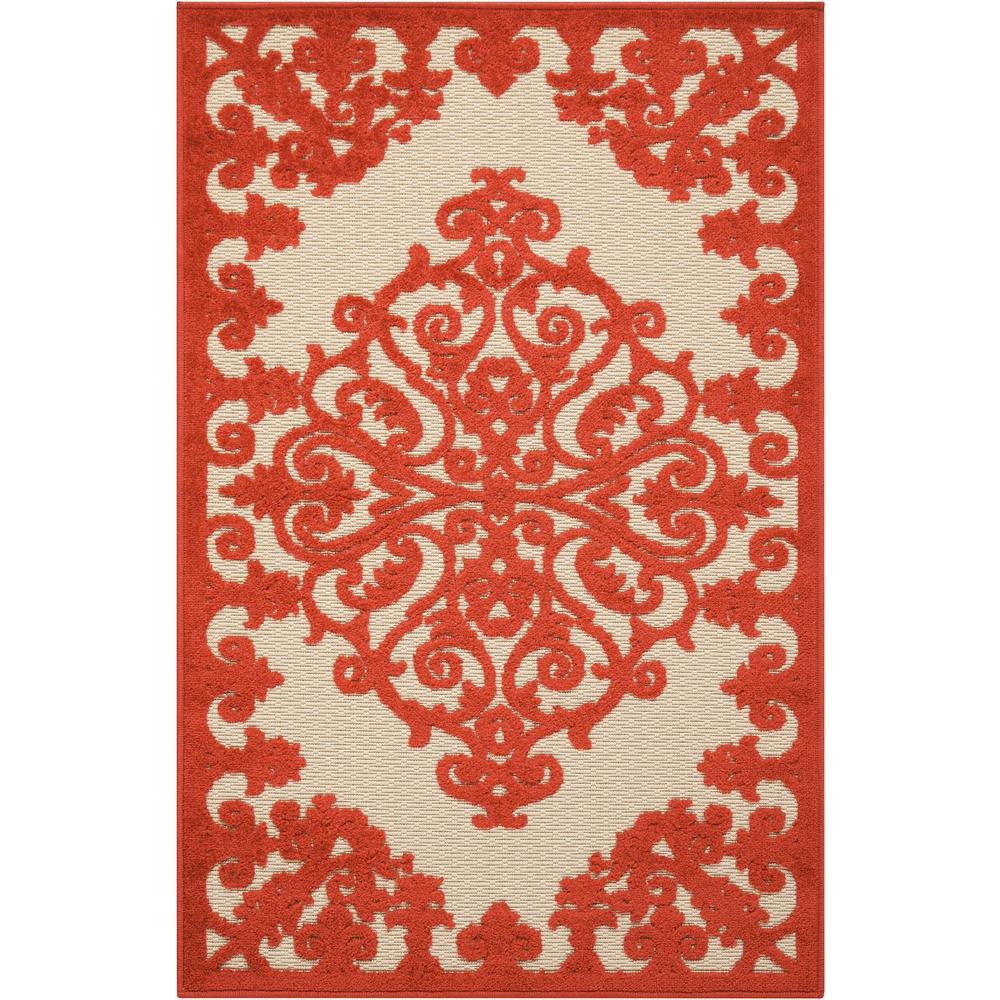 3' x 4' Red Medallion Indoor Outdoor Area Rug - 384759. Picture 1