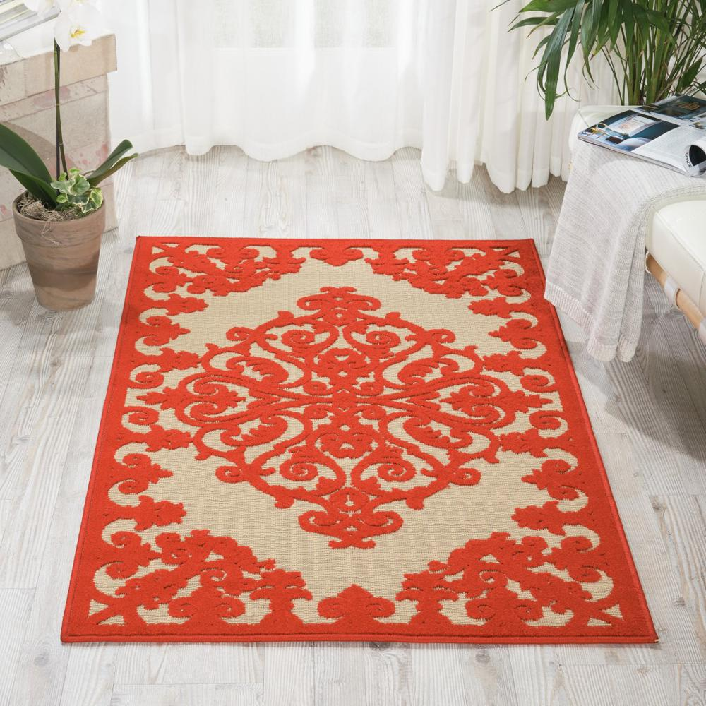 3' x 4' Red Medallion Indoor Outdoor Area Rug - 384759. Picture 4