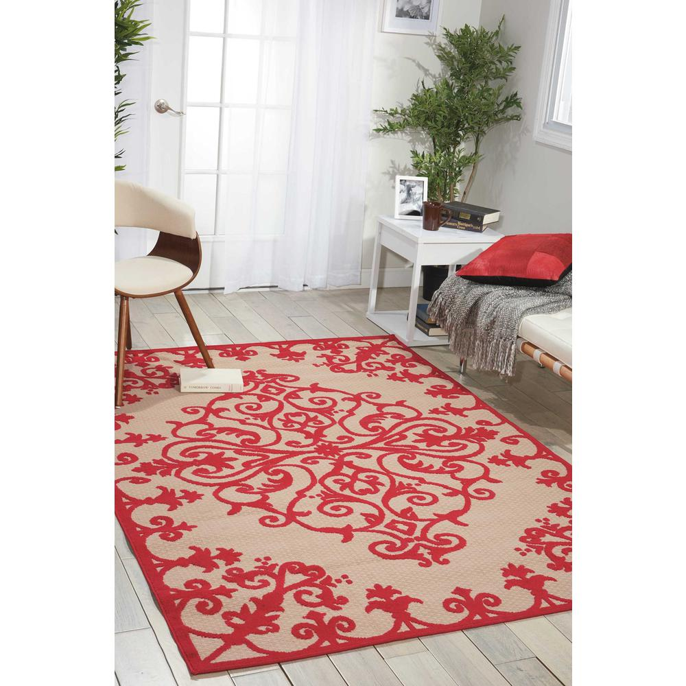 4' x 6' Red Medallion Indoor Outdoor Area Rug - 384760. Picture 4