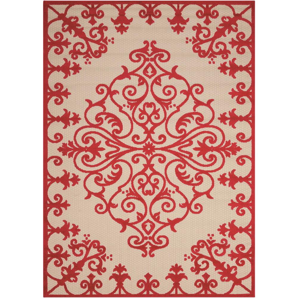 5' x 8' Red Medallion Indoor Outdoor Area Rug - 384762. Picture 1