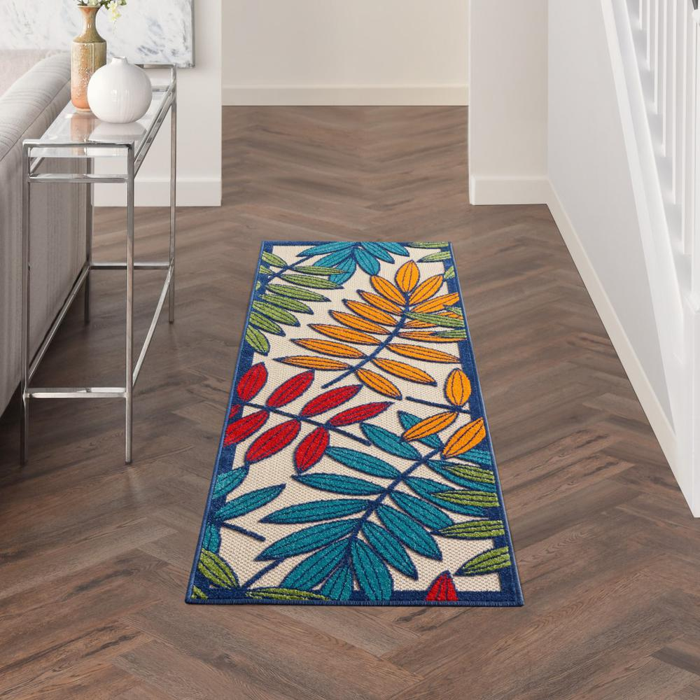 2'x 6' Multicolored Leaves Indoor Outdoor Runner Rug - 384807. Picture 4