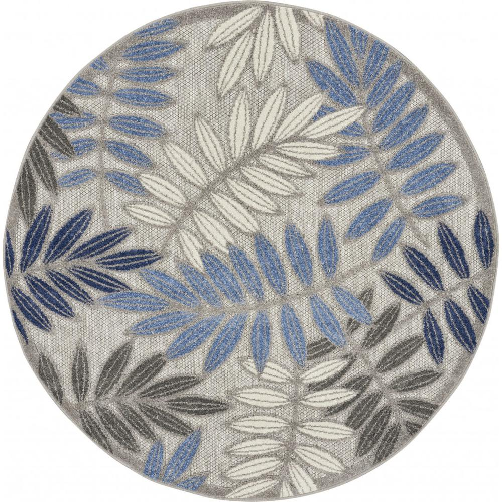 5' Round Gray and Blue Leaves Indoor Outdoor Area Rug - 384872. Picture 1