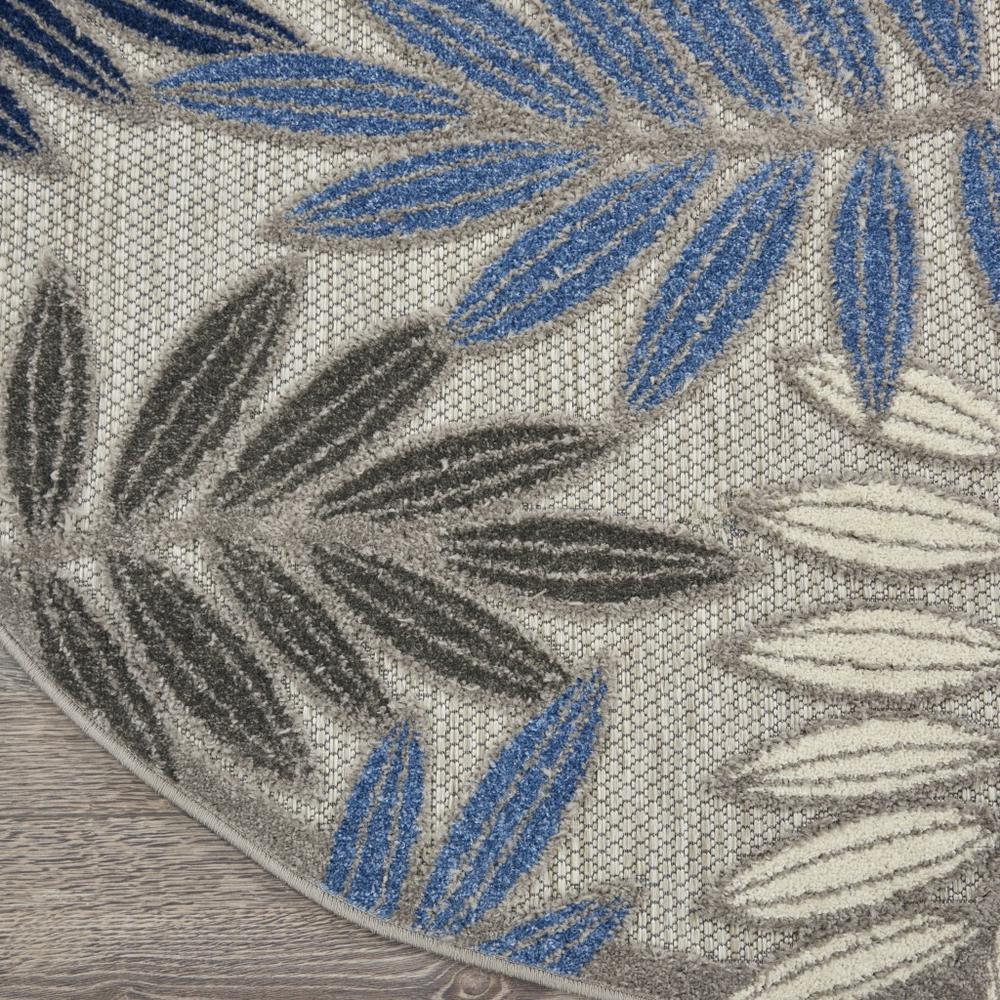 5' Round Gray and Blue Leaves Indoor Outdoor Area Rug - 384872. Picture 2
