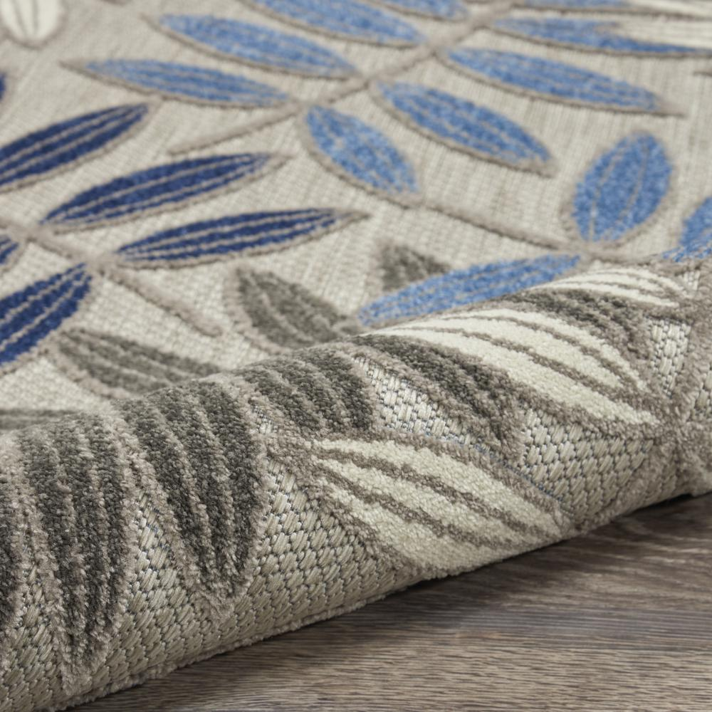 5' Round Gray and Blue Leaves Indoor Outdoor Area Rug - 384872. Picture 3