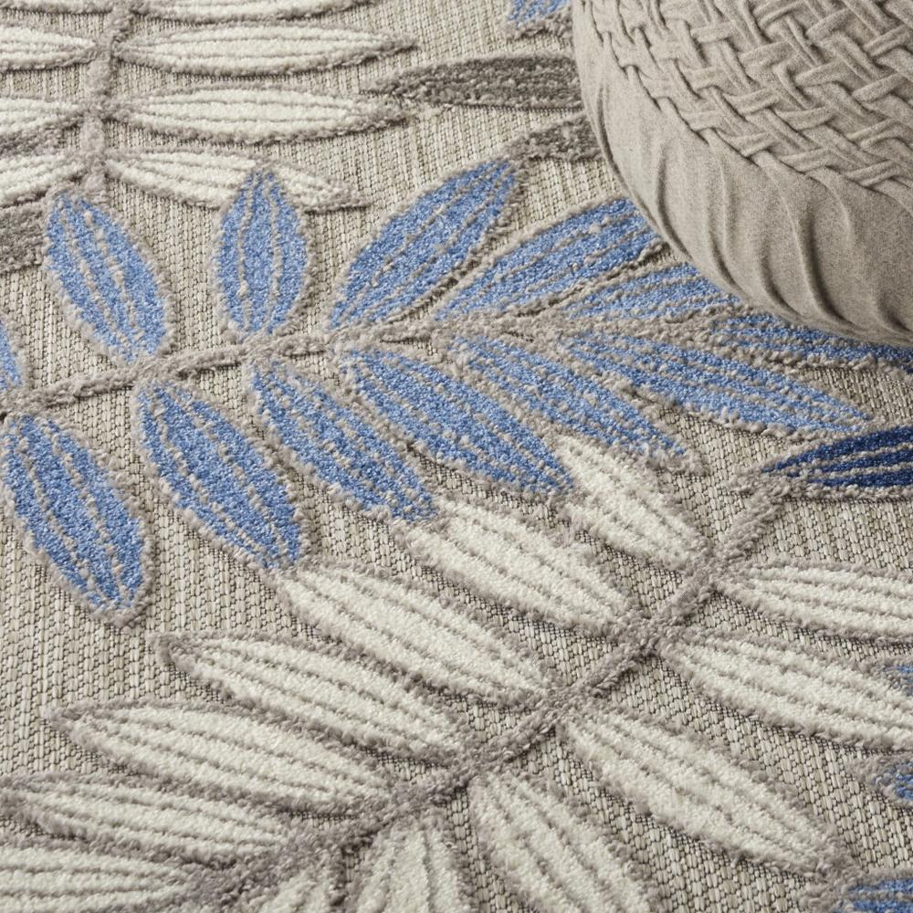 5' Round Gray and Blue Leaves Indoor Outdoor Area Rug - 384872. Picture 5
