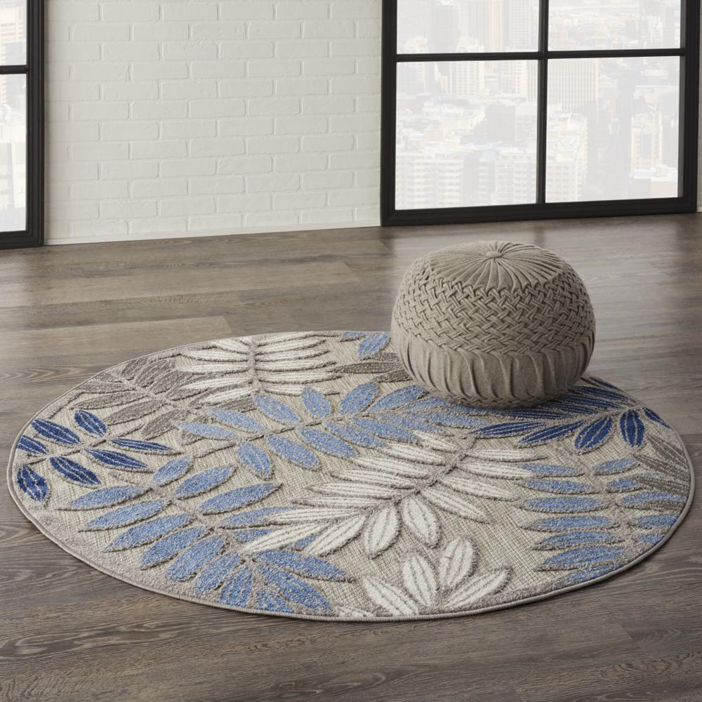 5' Round Gray and Blue Leaves Indoor Outdoor Area Rug - 384872. Picture 6