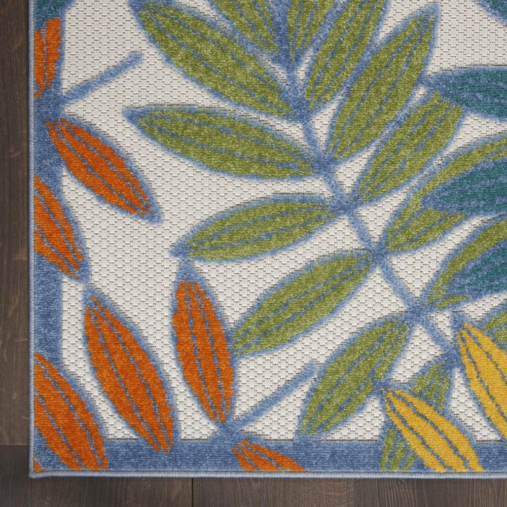 5'x 8' Ivory and Colored Leaves Indoor Outdoor Runner Rug - 384878. Picture 2