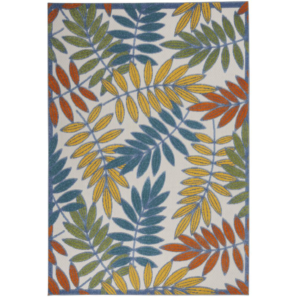 6'x 9' Ivory and Colored Leaves Indoor Outdoor Runner Rug - 384879. Picture 1