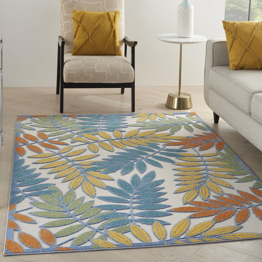 6'x 9' Ivory and Colored Leaves Indoor Outdoor Runner Rug - 384879. Picture 4