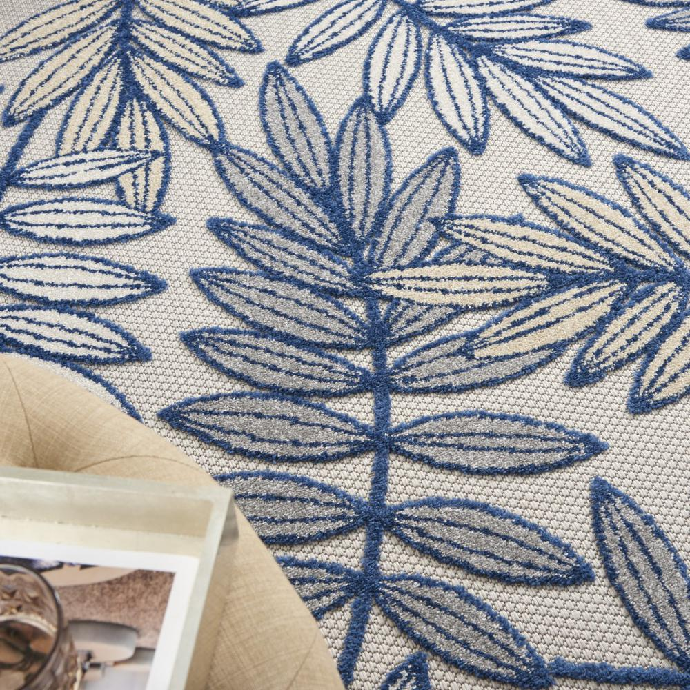 5' x 7' Ivory and Navy Leaves Indoor Outdoor Area Rug - 384882. Picture 5