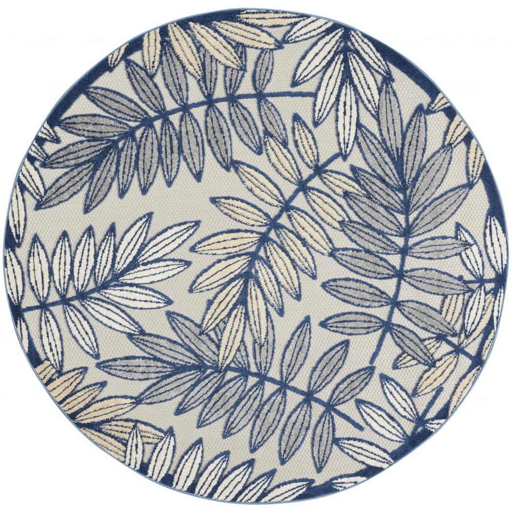 5' Round Ivory and Navy Leaves Indoor Outdoor Area Rug - 384883. Picture 1
