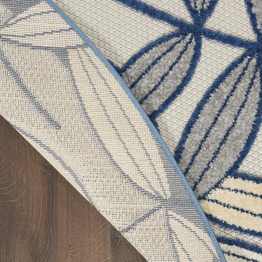 5' Round Ivory and Navy Leaves Indoor Outdoor Area Rug - 384883. Picture 3