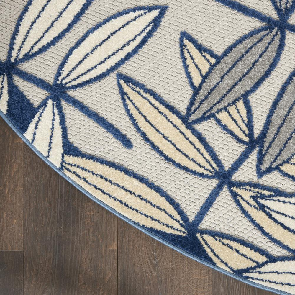 5' Round Ivory and Navy Leaves Indoor Outdoor Area Rug - 384883. Picture 4