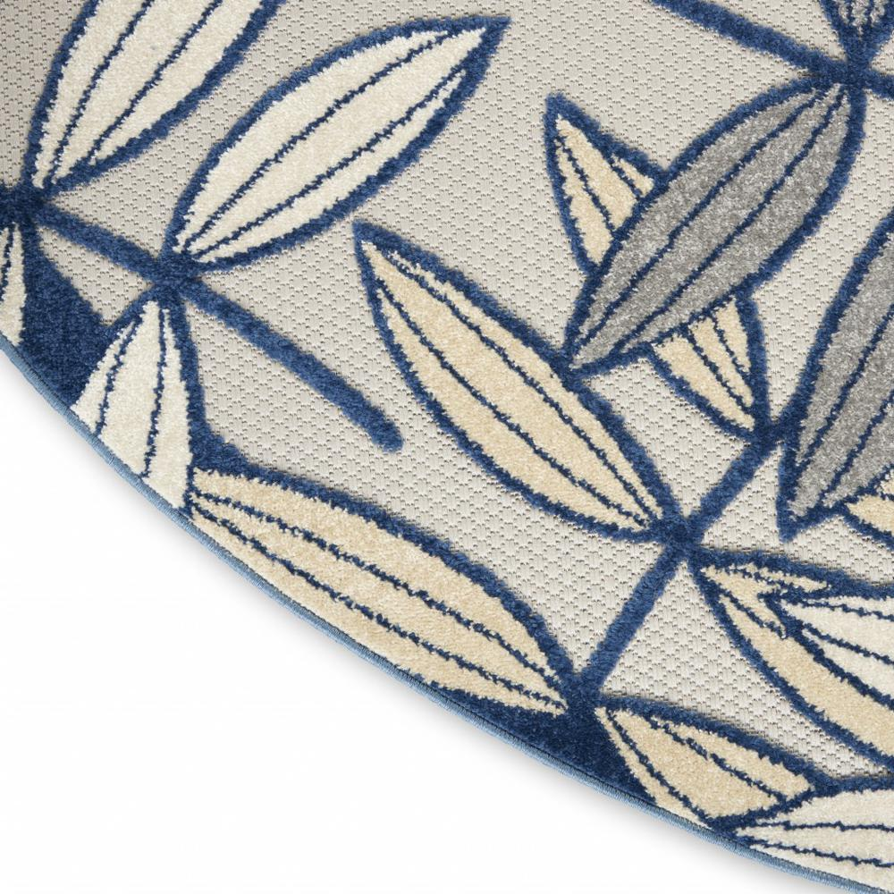 5' Round Ivory and Navy Leaves Indoor Outdoor Area Rug - 384883. Picture 5