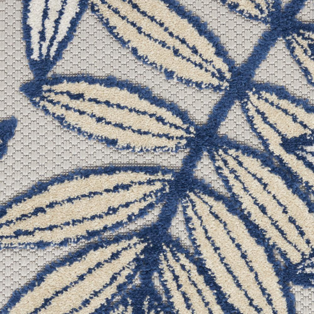 5' Round Ivory and Navy Leaves Indoor Outdoor Area Rug - 384883. Picture 6