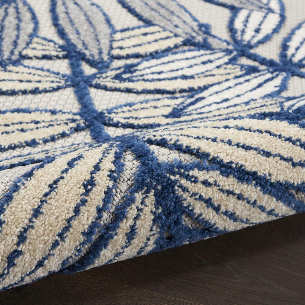 5' Round Ivory and Navy Leaves Indoor Outdoor Area Rug - 384883. Picture 7