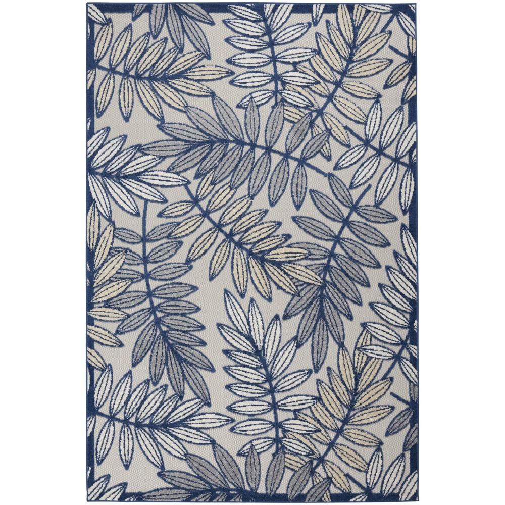 6' x 9' Ivory and Navy Leaves Indoor Outdoor Area Rug - 384884. Picture 1