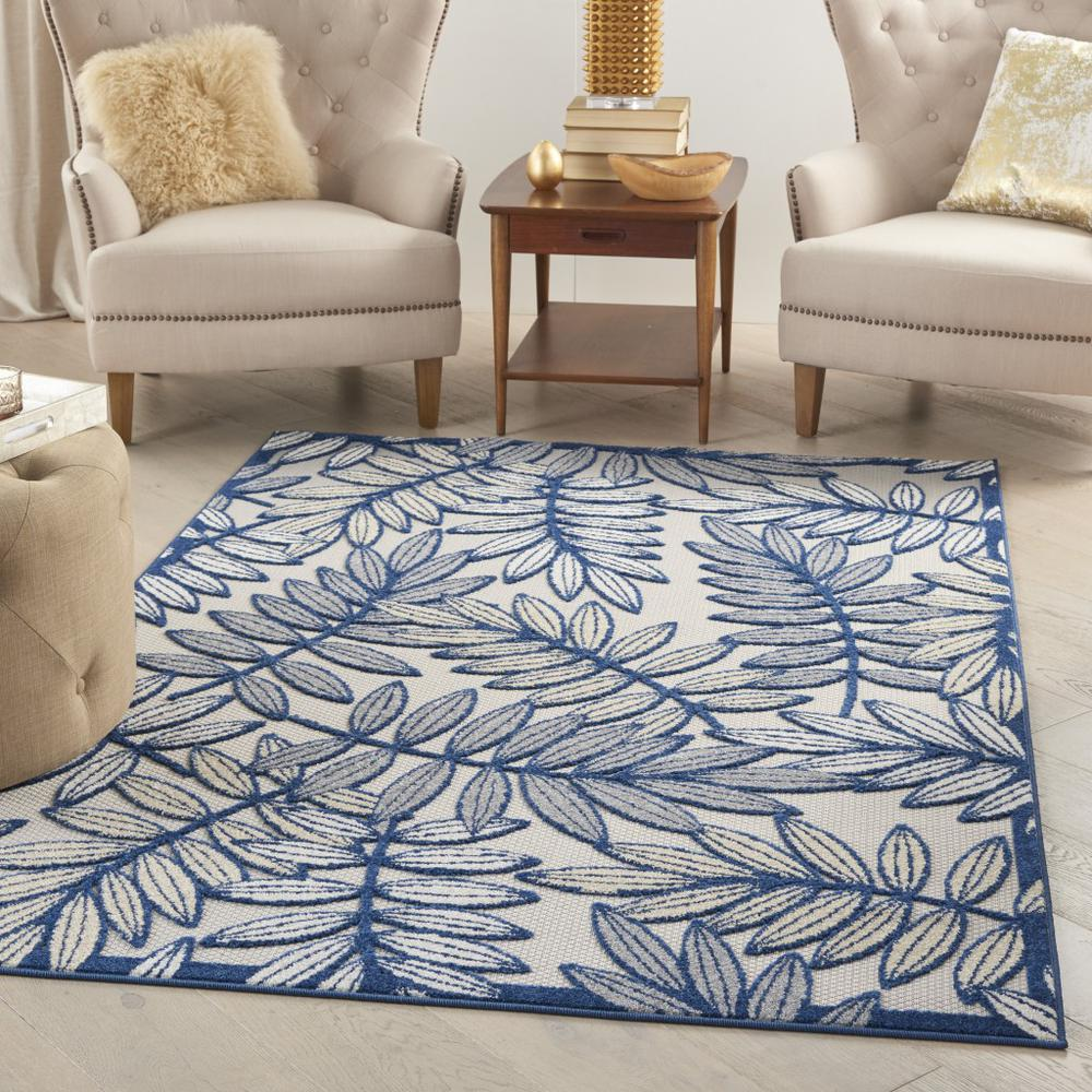 6' x 9' Ivory and Navy Leaves Indoor Outdoor Area Rug - 384884. Picture 4