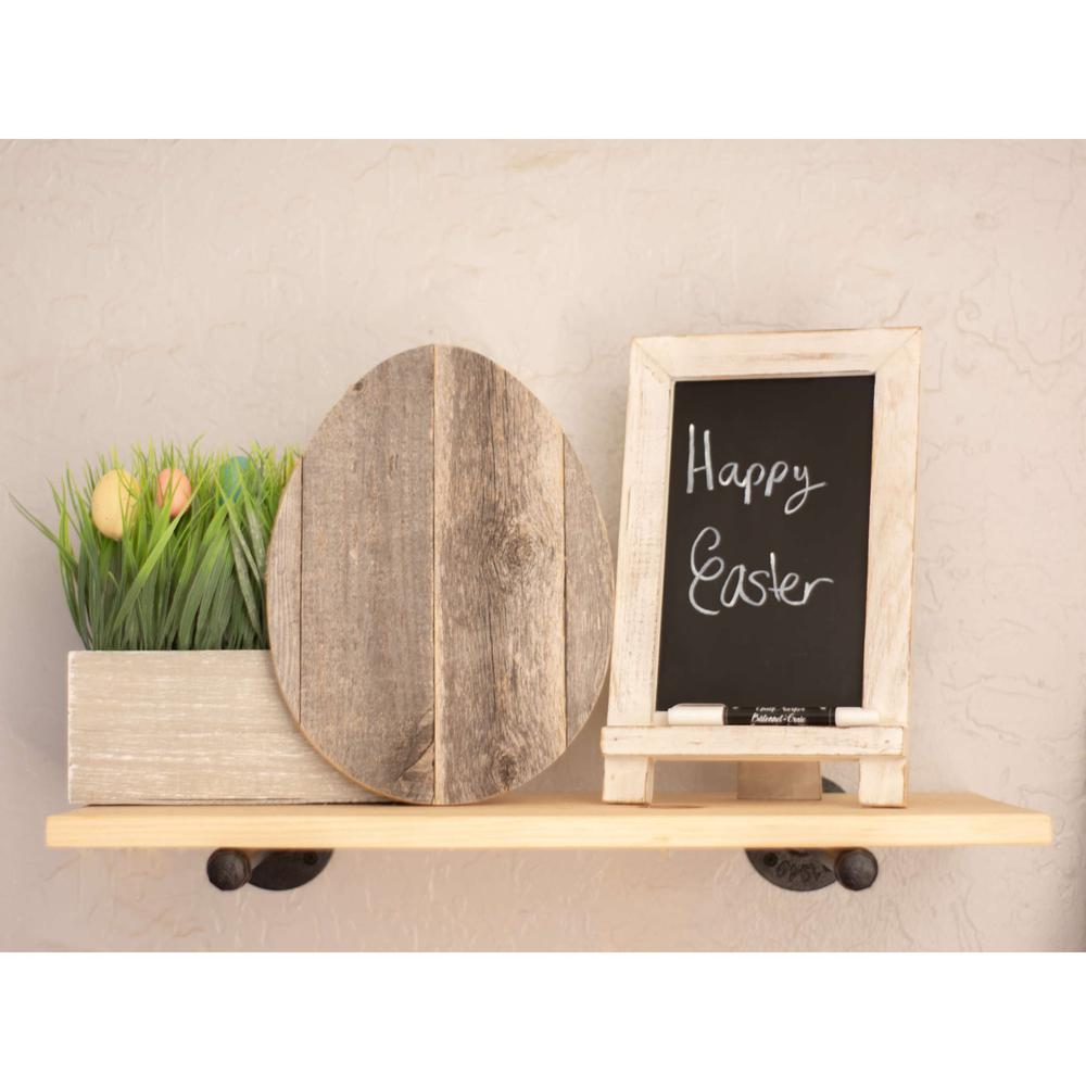 """12"""" Farmhouse Weathered Gray Wooden Large Egg - 384887. Picture 2"""