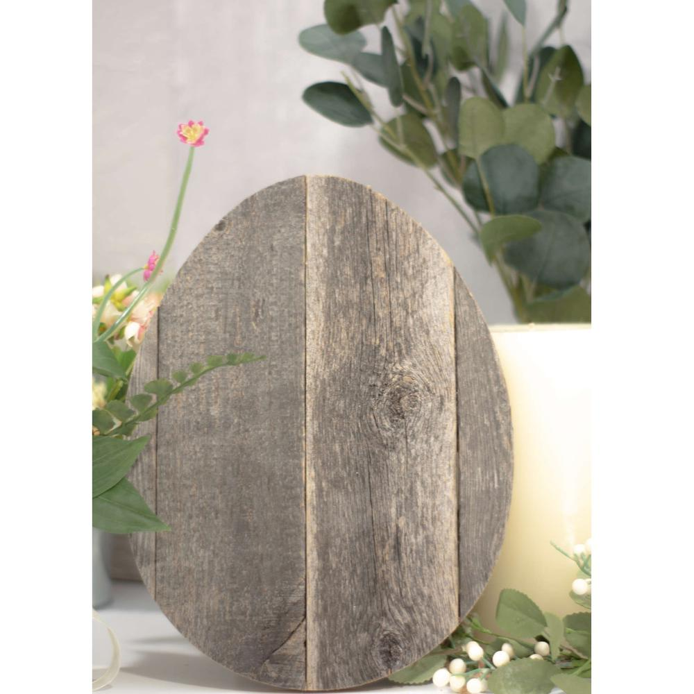 """12"""" Farmhouse Weathered Gray Wooden Large Egg - 384887. Picture 3"""
